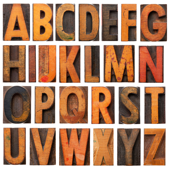 vintage wood alphabet set