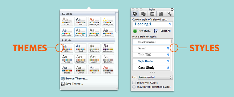 Microsoft Office Word Themes and Colors