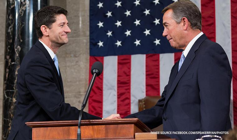 Speaker Ryan (left) shakes hands as he ascends to office following the retirement of Speaker John Boehner (right).