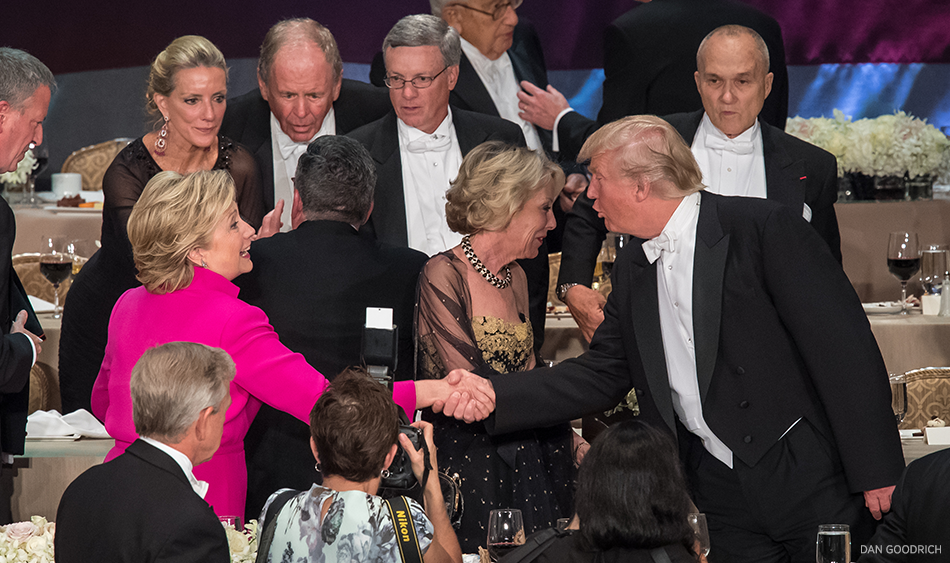 Secretary Hillary Clinton and Donald Trump shake hands at the 71st Al Smith Dinner